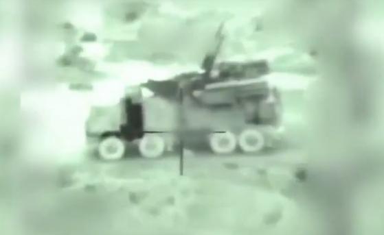 이스라엘이 공개한 시리아군 판치르-S1 공격 장면 [유튜브 캡처=이스라엘 군]