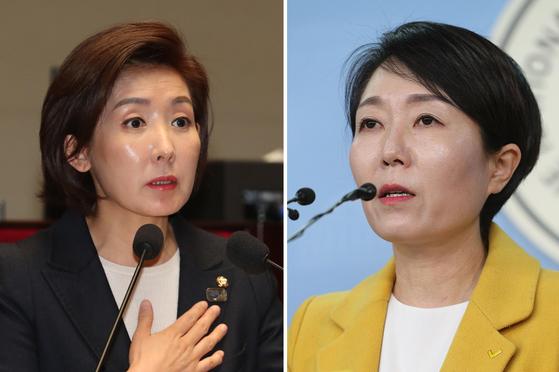 자유한국당 나경원 원내대표, 정호진 정의당 대변인 [중앙포토]