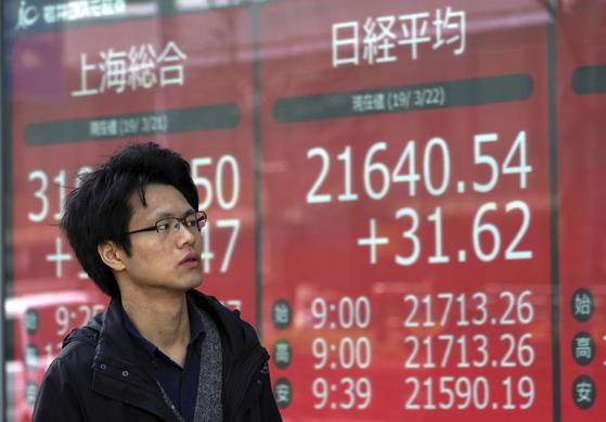 지난 22일 일본 도쿄의 한 증권사 전광판 앞을 시민이 지나고 있다. 25일 개장 직후 닛케이 지수가 3% 급락해 2만1000이 무너졌다. [AP=연합뉴스]