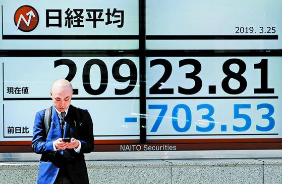 25일 닛케이225지수를 표시한 일본 도쿄의 한 증권사 전광판. 이날 닛케이지수는 전 거래일보다 3.01% 급락했다. [도쿄 로이터=연합뉴스]