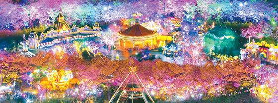 이월드 '별빛벚꽃축제'는 올해로 8회를 맞는다. 전구 1000만 개를 달아 밤이 되면 하얀 꽃에 조명이 반사돼 화려하고 몽환적이다. [사진 이랜드]