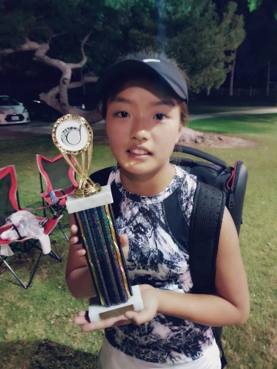 지난달 미국테니스협회 주관대회에서 우승한 이재아. [이동국 제공]