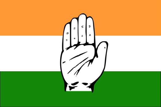 인도의 중도좌파 정당인 인도국민회의(INC)의 깃발. 인도 국기에 손바닥을 그려넣었다. [중앙포토]