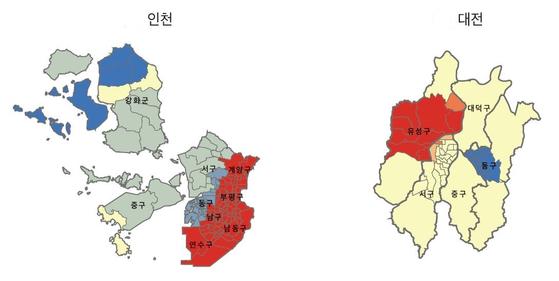인천 대전 핫스팟 콜드스팟