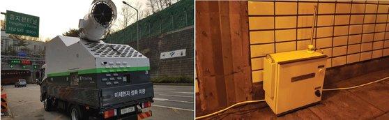 지난해 11월 플라스마 기술을 적용한 미세먼지 정화 차량이 홍지문터널로 들어가고 있다. 오른쪽 사진은 이 차량 통행 전후로 홍지문터널 안의 미세먼지 농도를 측정하는 모습.[사진 서울시]