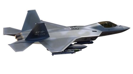 한국형 차세대 전투기(KFX)의 이미지. 2026년까지 체계개발을 마친 뒤 2028년 추가 무장시험을 완성하는 게 목표다. [사진 한국항공우주산업]