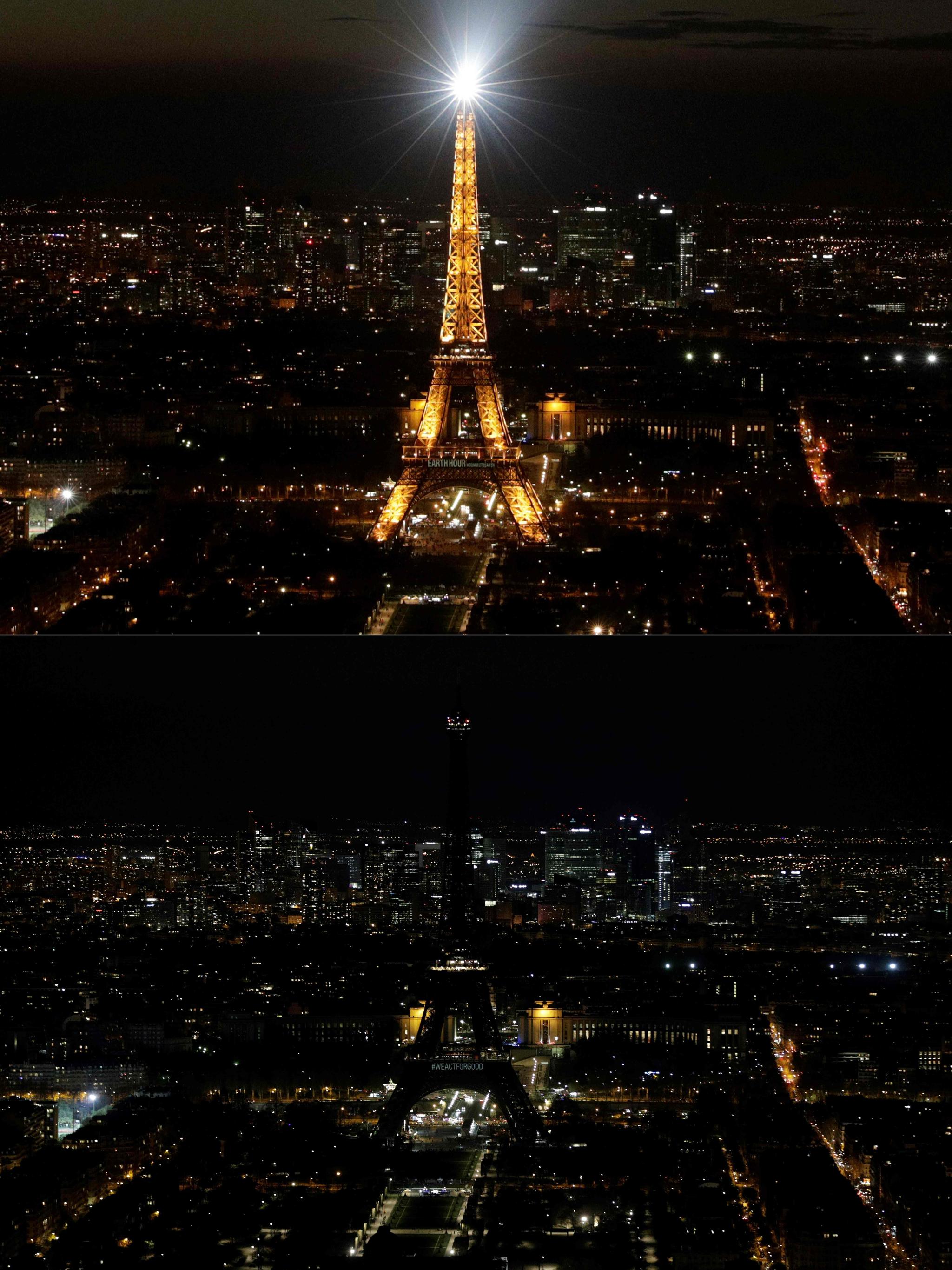 30일 밝게 빛나던 프랑스 파리의 에펠탑 조명이 '어스아워' 캠페인 시간에 맞춰 꺼져있다. 세계최대의 자연보전 캠페인의 하나인 '어스아워'는 기후변화와 지구온난화에 대한 시민들의 관심을 촉구하며, 전등을 끄고 지구에 한 시간 동안 휴식 시간을 주자는 취지로 시작됐다. [AFP=연합뉴스]