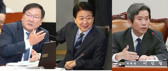 5월에 있을 원내대표 경선에 나서는 더불어민주당 의원들. 왼쪽부터 김태년ㆍ노웅래ㆍ이인영 의원 [중앙포토]
