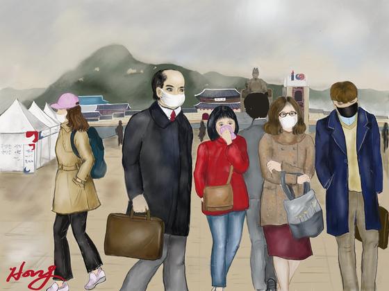 미세먼지로 뒤덮힌 출근길의 직장인들, 광화문에서. by 갤럭시탭S3 아트레이지 사용. [그림 홍미옥]