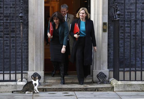 영국 내각 각료들이 장시간 회의를 한 뒤 총리 집무실을 나서고 있다. [AP=연합뉴스]
