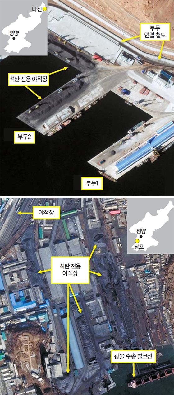 북한 나진·남포항서 석탄 선적활동 포착