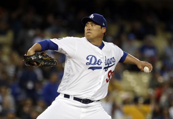 3일 샌프란시스코전에서 선발 등판한 LA 다저스 류현진. [AP=연합뉴스]
