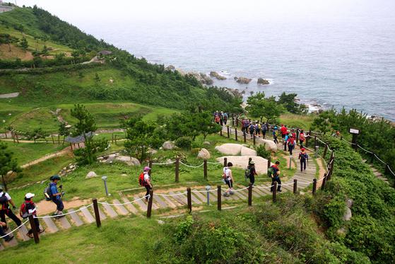 해파랑길 중 경북 영덕 구간. 바다와 녹색 산지 풍경이 어우러져 있다. [사진 경상북도]