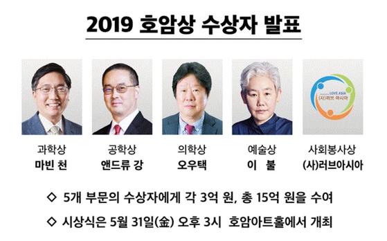 2019 호암상 수상자들.[사진 삼성전자]