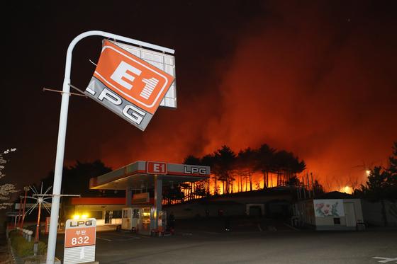 지난 4일 강원 고성군 토성면에서 시작된 산불이 속초시 외곽의 한 LPG 충전소 주위로 번지고 있다. [연합뉴스]