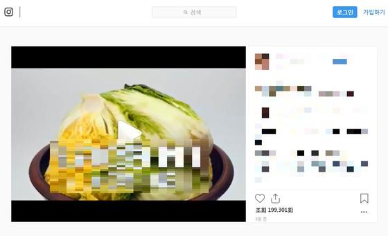 황씨가 자신의 과거 마약투약 의혹이 불거진 시점 올린 김치홍보 영상. [황하나씨 SNS]