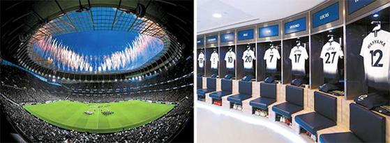 4년 반 만에 완공된 토트넘의 새 홈구장 전경과 드레싱룸 모습(왼쪽부터). [사진 토트넘 SNS]