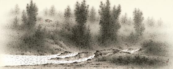 청전 이상범의 '고원무림'(1968,종이에 수묵담채, 76.5x192.5cm). [사진 갤러리현대]