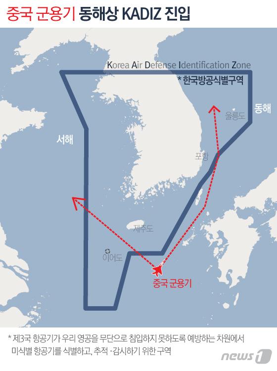 중국 군용기는 빈번하게 한국방공식별구역을 침범하고, 공군 전투기가 긴급 출격해 대응한다. [뉴스1]