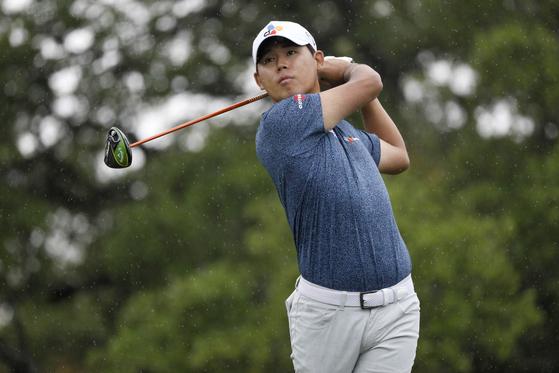 김시우가 7일 열린 PGA 투어 텍사스 오픈 3라운드 2번 홀 티샷을 하고 있다. [로이터=연합뉴스]