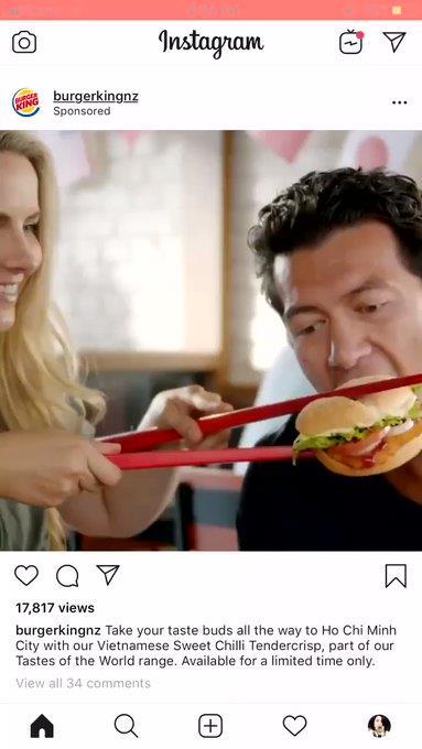 젓가락을 사용해 햄버거를 먹는 모습으로 인종차별 논란을 불러 일으킨 버거킹 광고. [인스타그램 캡처=연합뉴스]