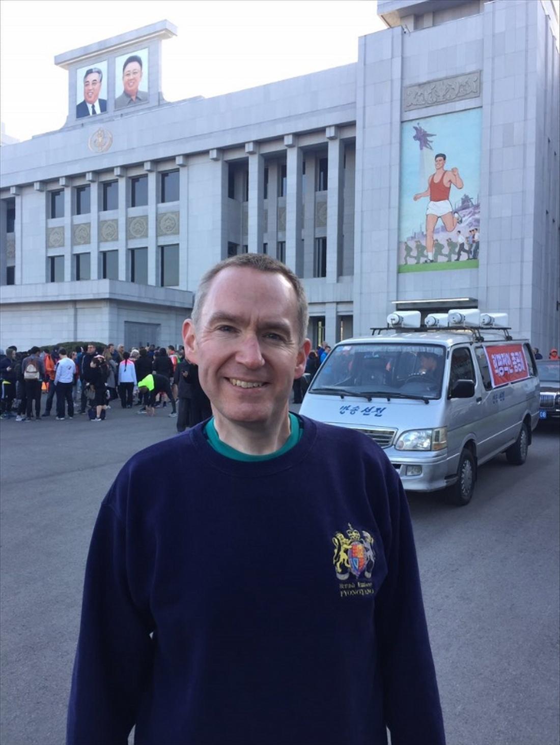 콜린 크룩스 북한 주재 영국대사가 7일 트위터 계정으로 이날 평양에서 열린 '만경대상' 국제마라톤대회 모습을 공개했다. [연합뉴스]
