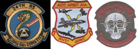 RC-135 계열 정찰기 소속 부대들의 마크. 왼쪽부터 RC-135S 코브라볼, RC-135V/W 리벳조인트, RC-135S 컴뱃센트. [사진 FAS]