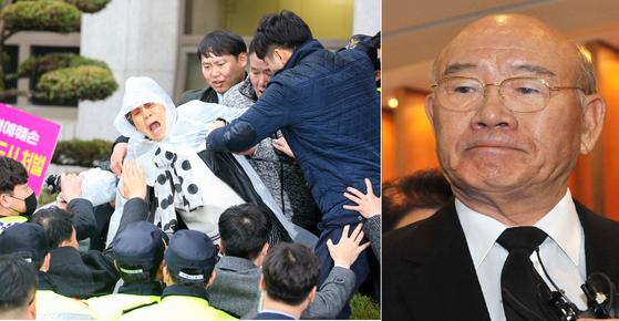 지난달 11일 전두환 전 대통령 재판을 보기 위해 광주지법을 찾은 시민이 사죄를 촉구하고 있다. 오른쪽은 전 전 대통령. 중앙포토