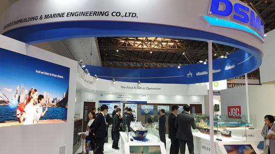 중국 상해에서 열린 LNG 2019 행사장에 마련된 대우조선해양 부스. 강기헌 기자