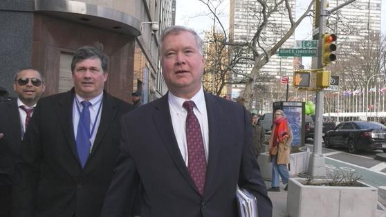 지난달 14일 뉴욕을 방문한 스티브 비건 미 국무부 대북 특별대표. 최정 미주중앙일보 기자