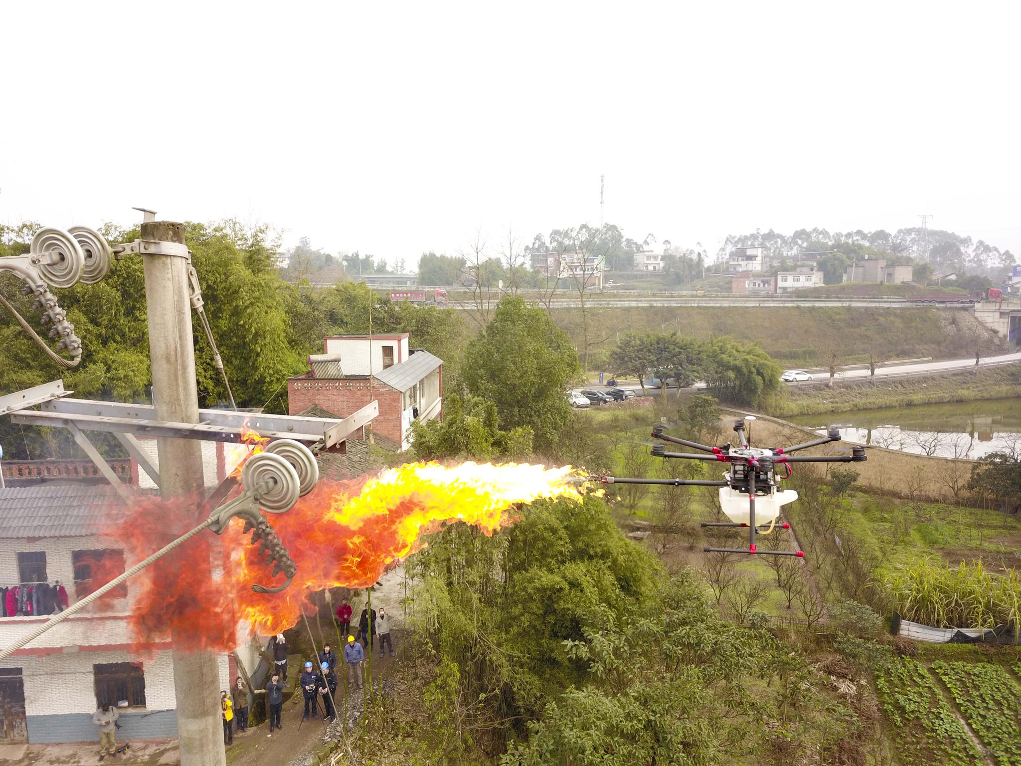 지난 1월 드론이 중국 남서부 충칭 샤오칸 마을에서 전봇대에 달린 뿔풍뎅이 둥지를 제거하고 있다. [신화=연합뉴스]
