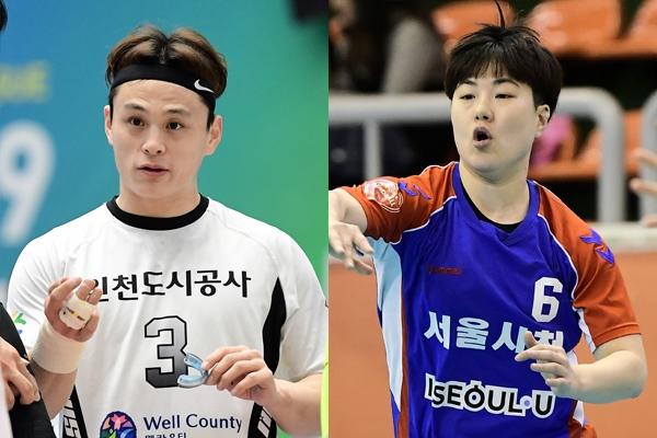 도움왕을 수상한 인천도시공사 심재복(왼쪽)과 서울시청 송해림. 대한핸드볼협회 제공
