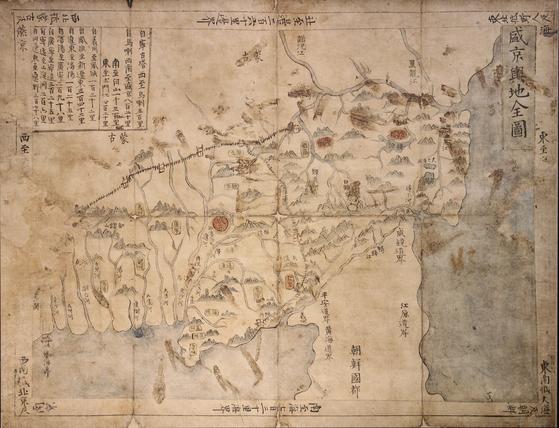 중국 청나라의 옛 수도인 선양 일대를 그린 '성경여지전도'. [사진 화봉문고]
