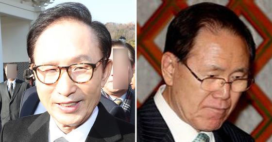 이명박 전 대통령(왼쪽)과 김백준 전 총무기획관. [중앙포토]