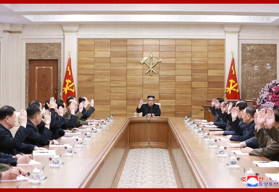 북한이 9일 당 정책 결정기구인 노동당 정치국회의를 개최했다고 북한 매체들이 전했다. [사진 조선중앙통신}