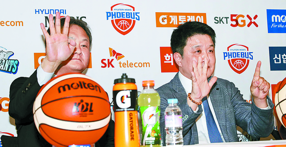 챔프전을 유재학(왼쪽) 감독은 4차전, 유도훈 감독은 6차전까지 갈 거로 예상했다. [뉴시스]