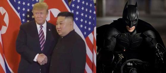 트럼프 트위터 영상과 영화 '다크 나이트 라이즈'(왼쪽)와 영화 '다크 나이트 라이즈' 스틸. [연합뉴스·워너브러더스코리아]