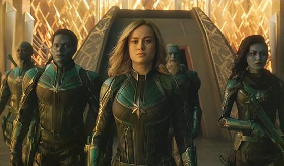 3월초 개봉해 500만 넘는 관객을 모은 수퍼 히어로 영화 '캡틴 마블'. [사진 월트디즈니컴퍼니코리아]