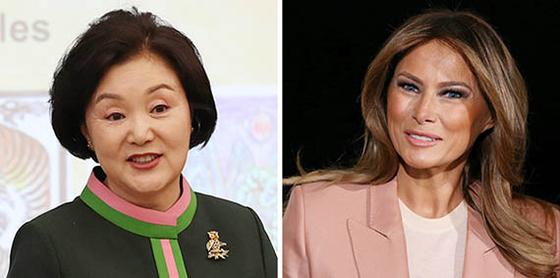 김정숙 여사(左), 멜라니아 트럼프(右). [로이터=연합뉴스]