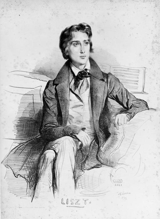 리스트. 21세의 모습. Achille Deveria. 석판화. 1832. [사진 Wikimedia Commons (Public Domain)]