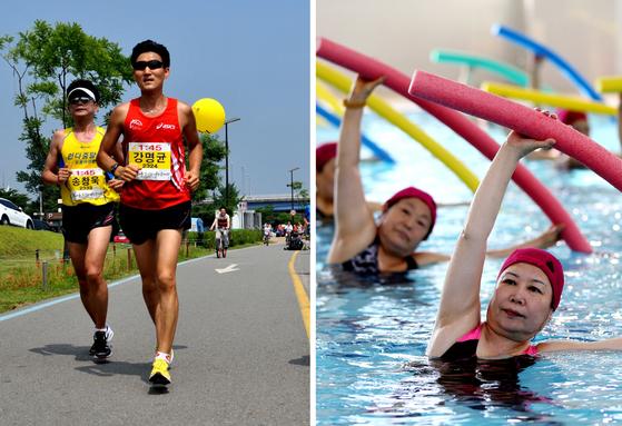 무릎이 아플 때 해야 하는 운동은 사람마다 다르다. 수영을 할 줄 모르는 사람에게 수영이 관절에 좋다는 이유로 마냥 추천하기 어렵다. 느끼는 통증의 정도에 따라 운동 강도와 종류도 달라질 것이다. 다만 확실한 것은, 꾸준히 할 수 있는 운동을 골라야 하고 무리하게 운동을 해서는 안 된다는 것이다. [중앙포토]