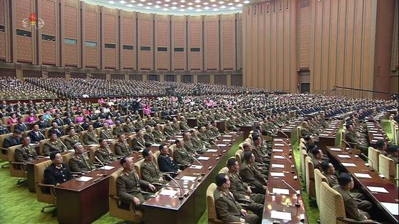 북한 최고인민회의 제14기 제1차회의가 지난 11일 만수대의사당에서 열렸다. 사진은 조선중앙TV가 12일 오후 공개한 영상에 나온 회의 모습.[연합뉴스]