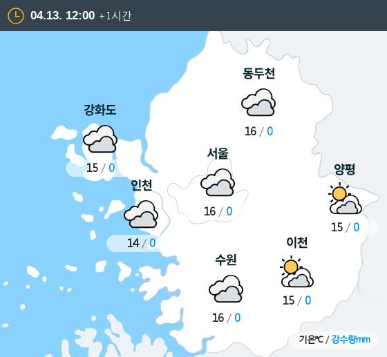 2019년 04월 13일 12시 수도권 날씨