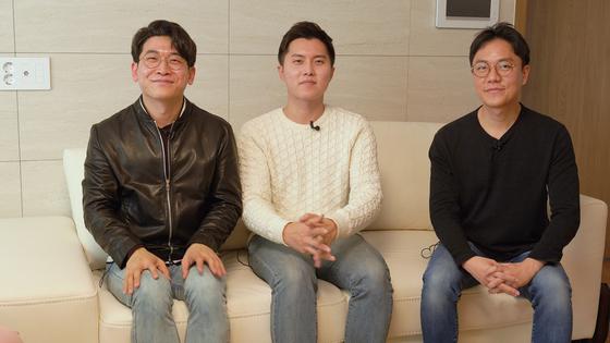 유튜브 채널 '닥터프렌즈'를 만든 세 사람. (왼쪽부터) 오진승 정신의학과 전문의, 우창윤 내과 전문의, 이낙준 이비인후과 전문의. [중앙일보 비디오팀]
