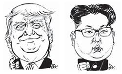 도널드 트럼프(左), 김정은(右).