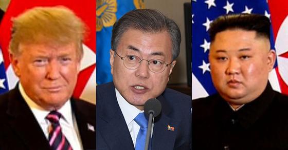 (왼쪽부터) 트럼프 미국 대통령, 문재인 대통령, 김정은 북한 국무위원장 [연합뉴스]