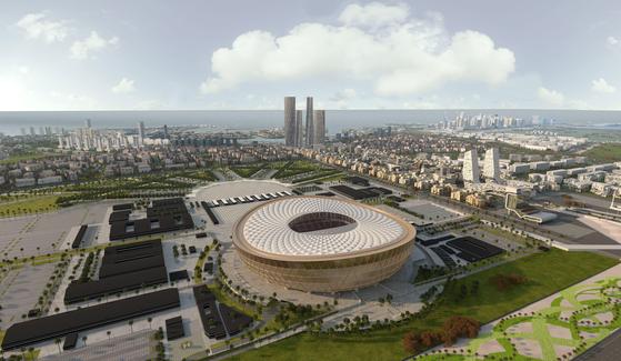 FIFA가 카타르 월드컵 본선 참가국 확대를 위해 이웃나라 쿠웨이트와 공동개최를 논의 중이다. 사진은 카타르월드컵 개막식과 폐막식이 열릴 8만석 규모의 알 루사일 스타디움. [EPA=연합뉴스]