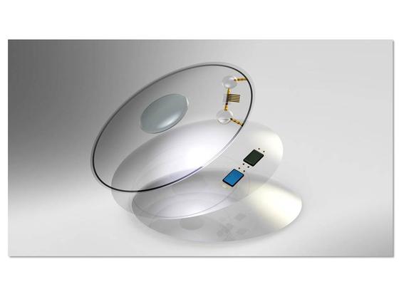 포항공대(POSTECH) 산학협력단이 출원한 스마트 콘택트렌즈의 사진. 눈 상태를 실시간으로 인지해 약물이 투여될 수 있도록 한다. [중앙포토]