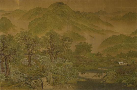 노수현, '신록'( 1920 년대, 비단에 색, 204.0x312.0cm 고려대박물관 소장). 사진 국립중앙박물관]