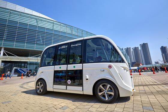 운전대와 가속 페달, 운전석이 없는 완전 자율주행차 스프링클라우드의 '스프링카'는 제1전시장과 제2전시장을 운행하는 셔틀로 활약했다.